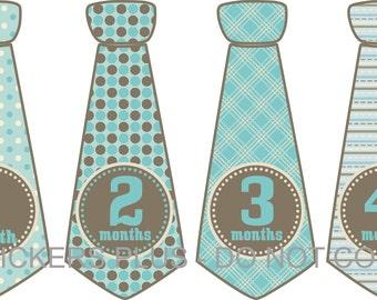 Monthly Baby Boy Tie Stickers Necktie Neck Tie Stickers Fancy Blue Brown Dots Stripes  1-12 Months Baby Month Stickers Baby Milestone