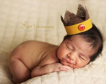 Little Button Burlap Newborn Crown - Photography Prop