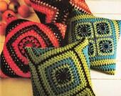 1970s VINTAGE CROCHET PATTERN -2 Granny Square Reversible Cushions, Boho/Retro/Shabby Chic, Instant Download from GrannyTakesATrip Pdf 0185