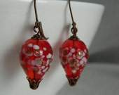 UP AND AWAY - Red Hot Air Balloon Steampunk Earrings by Christina Davis