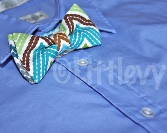 Chevron Bow Tie - Teal Bow Tie - Fuchsia Tie - Bow Ties for Boys - Teal and Brown Bow Tie - Easter Bow Tie - Easter Photoshoot - Newborn Tie