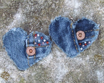 Earrings - Heart Shaped Recycled Levis Denim Hand Beaded Perfect for Valentines Day Upcycled