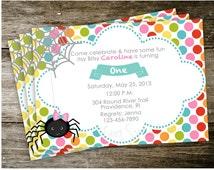Itsy Bitsy Spider Nursery Rhyme Invitation Birthday Party Invite