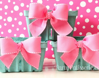 Pink Bow Berry Basket  Berry Baskets  Gifts  Set of 6 Berry Baskets