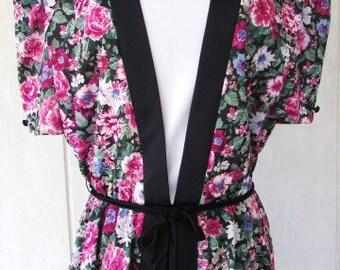 vintage 80s peplum dress b40 beautiful floral print new wave secretary dress