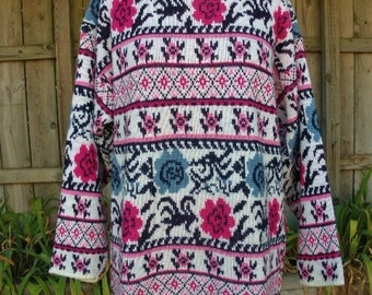 vintage 80s tunic sweater fuschia and blue floral flower pattern l xl made in usa