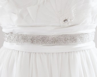 LISA - Beaded Bridal Sash, Wedding Belt