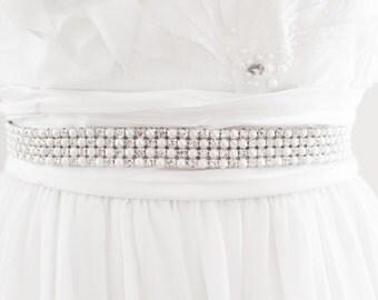 NIKKI I - Pearl and Rhinestone Bridal Sash