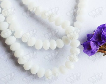 145pcs 3x4mm Opaque White Faceted Rondelle Crystal Glass Beads