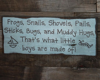 Large Wood Sign - That's What Little Boys are Made Of - Subway Sign