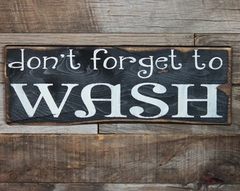 Large Wood Sign - Dont forget to WASH- Subway Sign