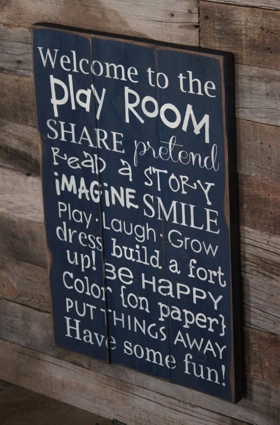 Large Wood Sign Welcome To The Play Room By Dustinshelves