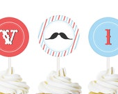 Mustaches and Bowties  - Custom Printable  party CIRCLES - Stashes, barbershop, Mustache, little man party