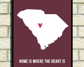 South Carolina Print, Modern Home Decor, Wall Art, Decoration, Poster, Deep Red White,  Home is, Travel Map I heart USA SALE buy 2 get 3
