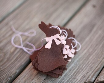 SALE Chocolate Easter Bunny Garland Bunting with Pink Bows