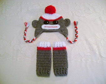 Red Sock Monkey Crochet Hat & Leg Warmer Set - Available in Newborn to Toddler Size - Any Color Combination