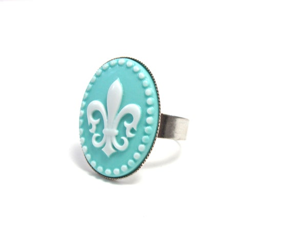 Fleur de Lis Ring - French Cameo Jewelry - Light Turquoise Blue and White Accessory - Fleur de Lys Ring - Adjustable Silver Band