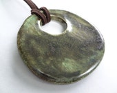 Ceramic Jewelry - Ceramic Pendant - Ceramic Necklace - Round Pendant - Green and Brown - Woodland