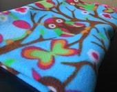Fleece Blanket Owl Print Soft Baby or Toddler Cuddle Blanket