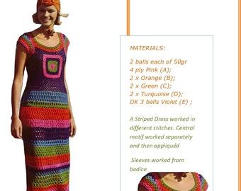 Instant Download 96  Vintage 1960's 70's Hippy Boho Crochet Ladies Dress Pattern iNStANT dOWNLOAD