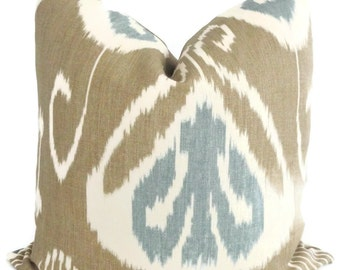 Kravet Taupe and Aqua Blue Ikat Pillow Cover 18x18, 20x20, 22x22, Throw Pillow, Ikat Pillow, Pillow cushion, Linen pillow, Lumbar pillow