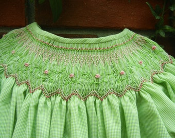Bishop Dress Smocked with Pink Roses and Made from Lime Green Imperial Microcheck