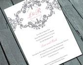 Sophisticated & Elegant DAMASK WEDDING Invitation: Digital printable file