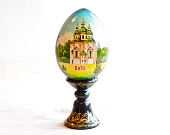 Russian Lacquer Egg on Stand - Hand Painted Souvenir From Russia - Boho Home Decor