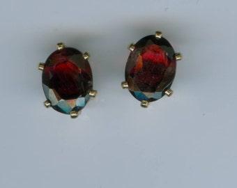 3 CT Genuine Garnet Stud Earrings 8MM x 6MM