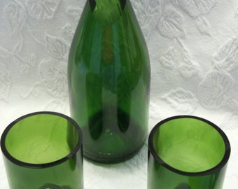 Recycled Green Wine Bottle Carafe and TWO (2) Stemless Wine Glasses