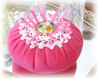 Pincushion Pin Keeper Flower, PINK Velour Puff  Pincushion Handmade CharlotteStyle Sewing Needlecraft