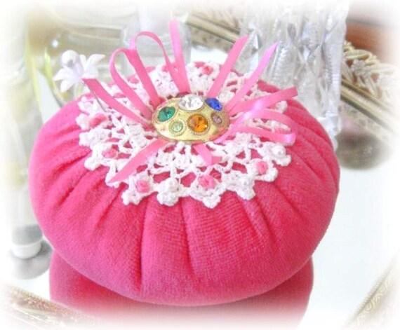 Pincushion Pin Keeper Flower, PINK Velour Puff  Pincushion Handmade CharlotteStyle Sewing Needlecraft