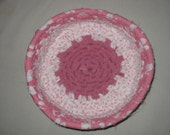 Basket, Pink and White Coiled Rag Rope Basket