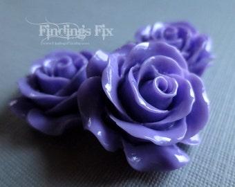 5X - detailed lavender large rose cabochon 29mm