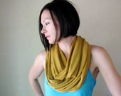 Ochre Infinity Scarf - Sweater Knit Scarf - Golden Yellow Circle Scarf - Mustard Loop Scarves