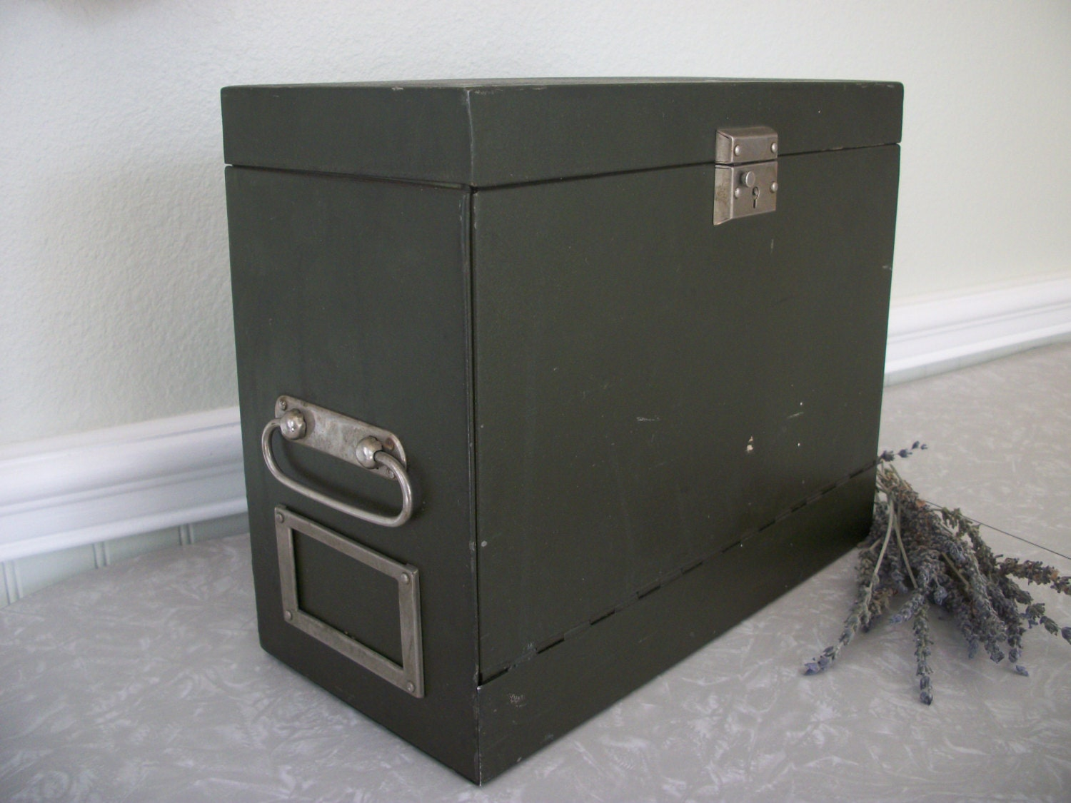 Portable Metal Cabinets : Vintage portable metal file cabinet box with by twocrazyhearts