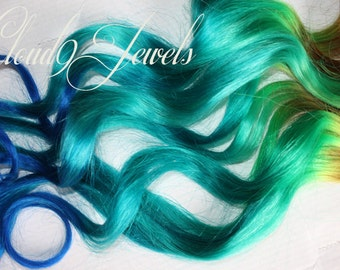 Mermaid Clip In Hair Extensions, Ombre Hair,  Tie Dye Tips,  Hair Wefts, Human Hair Extensions, Hippie hair