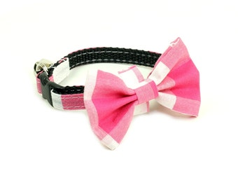 Cat Collar - Checkered Pink and White - Matching Bow Tie and Flower Available