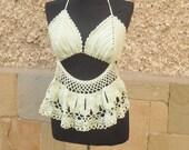 Crochet Beach Top, Mint Gteen Top,  Summer Crochet Bra, Top Beachwear, Handmade READY TO SHIP