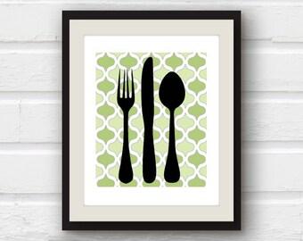 Fork Art, Spoon Art, Kitchen Decor, Kitchen Utensil Art, Modern Kitchen Art