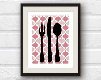 Fork, Knife, Spoon Kitchen Print - Kitchen Utensils - Kitchen Decor - Kitchen Print