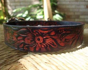 "Flame Hibiscus Leather Dog Collar.  1"" Wide Leather Dog Collar with Orange and Black Embossed Floral Design."