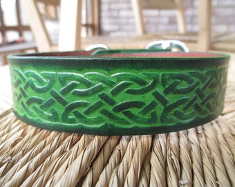 "Celtic Leather Dog Collar. 1 1/4"" Deep Forest Green Embossed Leather Collar."