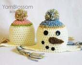 CROCHET PATTERN Snowman Earflap Hat (5 sizes included from newborn-10 years) Instant Download
