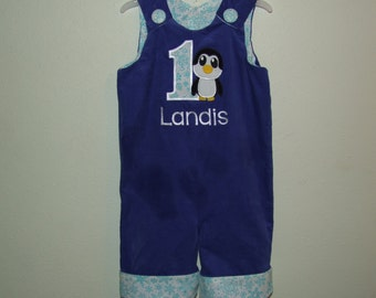 Royal Blue Corduroy/White Aqua Snowflakes Penguin Personalized Birthday Longall