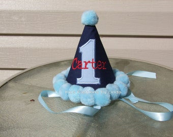 Personalized Navy Blue /Light Blue Applique Number/Light Blue Pom Pom Birthday Hat
