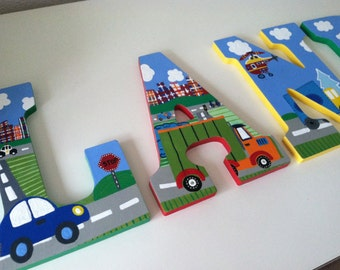 Custom Painted Boy's Wall Letters- Trucks, Cars, Helicopters / Transportation Theme- Price Per Letter