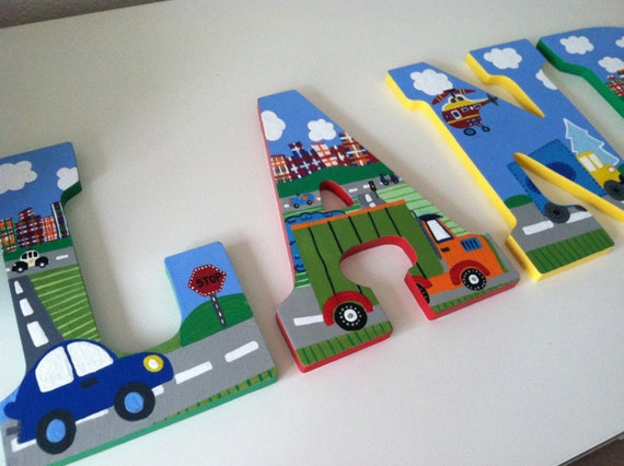 Custom Painted Boy 39 S Wall Letters Trucks Cars