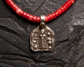 Coral Necklace with Antique Hindu Amulet of Kali
