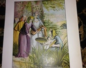 Antique Victorian Old Bible 1875 Color Page Finding of Moses To Frame Religious print